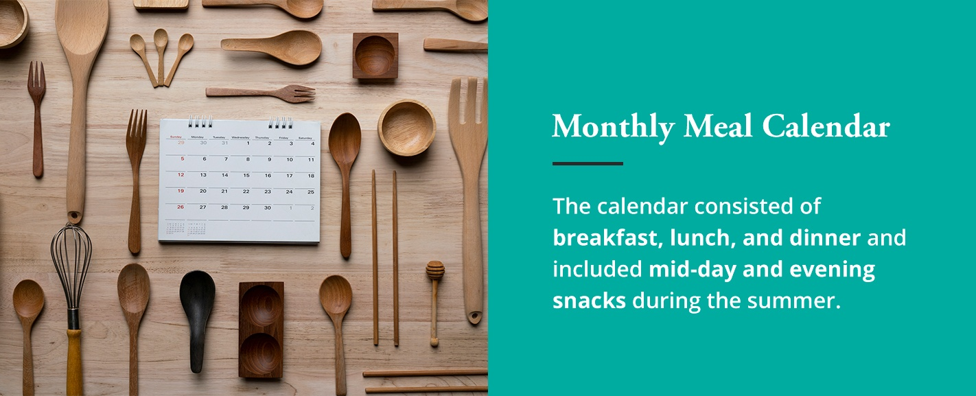 wooden spoons and monthly meal calendar for family bonding